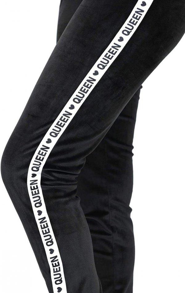 Wygodne spodnie ciązowe dresowe welurowe  9096 czarne/queen4