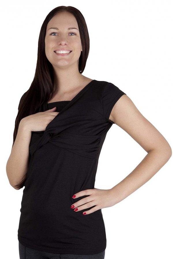 bluzka z pętelką 2 w1 ciążowa i do karmienia M18/4003 czarny 2