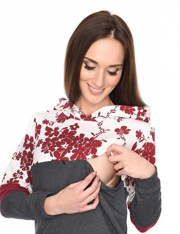 """MijaCulture - 3 w 1 bluza ciążowa i do karmienia """"Jane"""" 7144 grafit/bordo 4"""