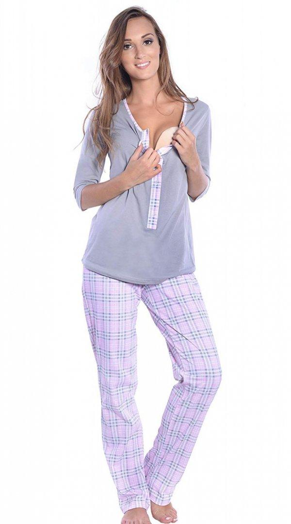3 w 1 piżama ciążowa i do karmienia 4054/M52 szary/ jasny róż 3