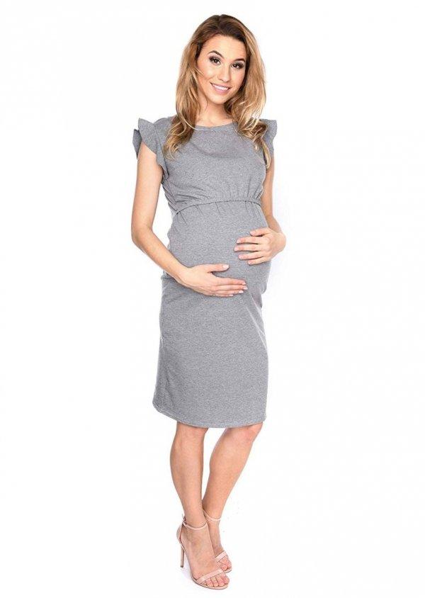 """MijaCulture - zjawiskowa sukienka 2 w 1 ciążowa i do karmienia """"Lia"""" szary 4"""