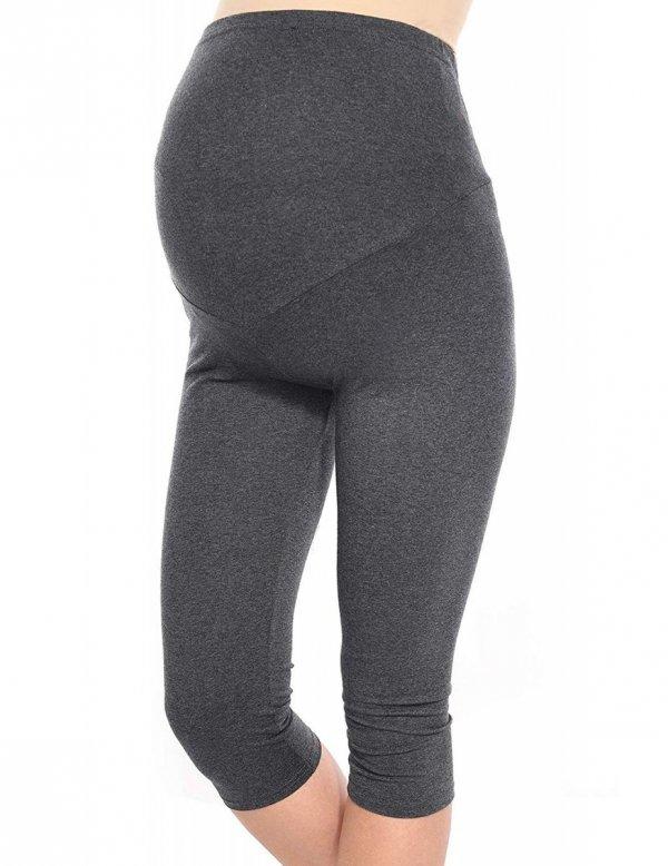 Komfortowe legginsy ciążowe 3/4 grafitowe 1