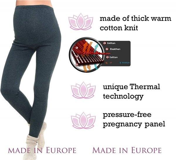 Komfortowe legginsy ciążowe zimowe 3006 grafit 4