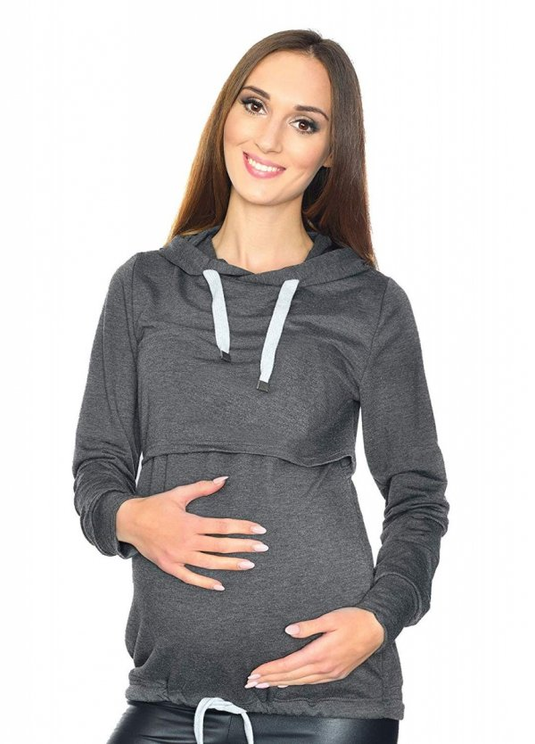 MijaCulture - 3 w 1 bluza ciążowa i do karmienia M68 4110 grafit 2