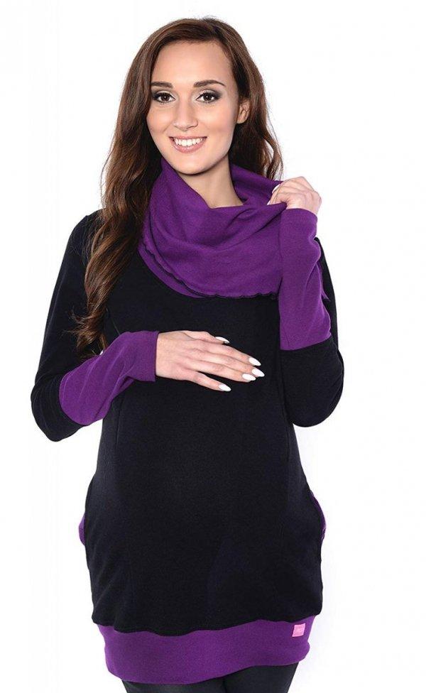 bluza 3 w1 ciążowa i do karmienia z asymetrycznym kołnierzem 4020/M05 czarny/fiolet 2
