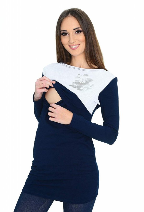 Praktyczna bluzka ciążowa i do karmienia Kwiaty 9088 ciemny granat 1