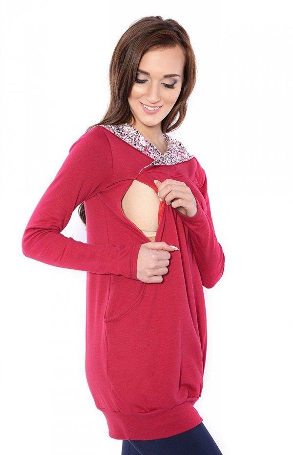 """bluza 3 w 1 ciążowa i do karmienia z kapturem """"Mimi"""" 7102A bordo 2"""