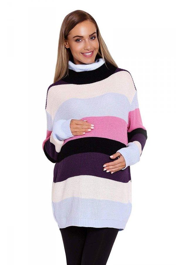 Wygodny sweter ciążowy w paski 70007/2012 różowy 1