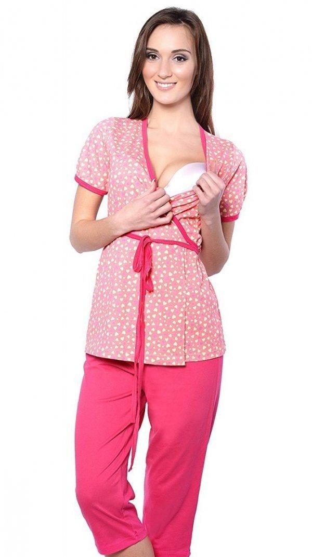 Urocza piżama 2 w 1 ciążowa i do karmienia 5001/645 brzoskwiniowy/czerwony 1