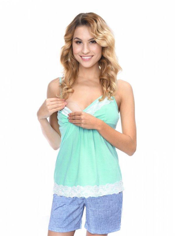 MijaCulture - 3 w 1 piżama ciążowa i do karmienia 4024/M41 turkus/niebieski
