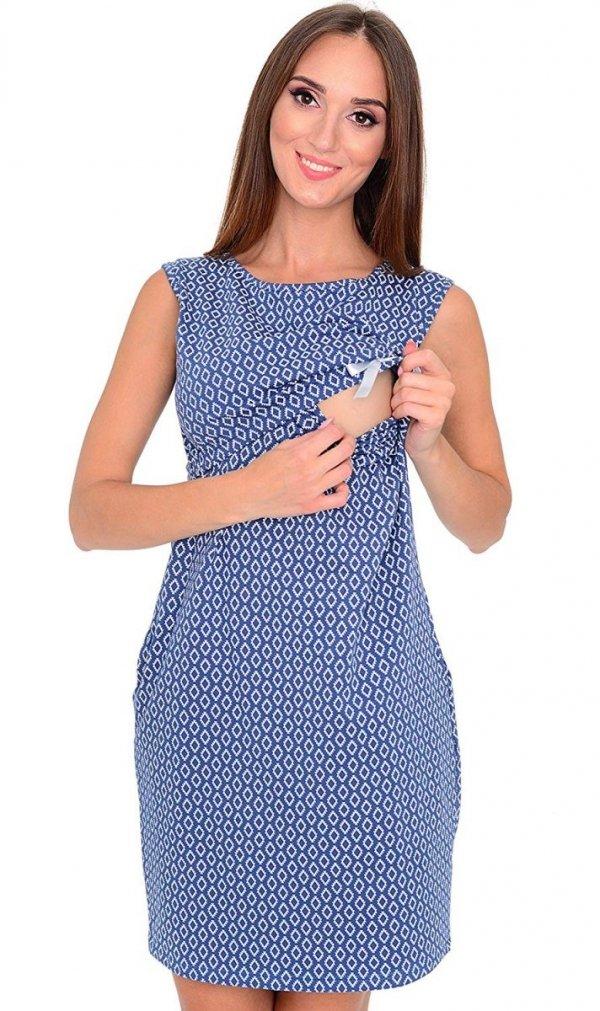 Zjawiskowa sukienka ciążowa z kokardką 4029/4096 niebieska 2