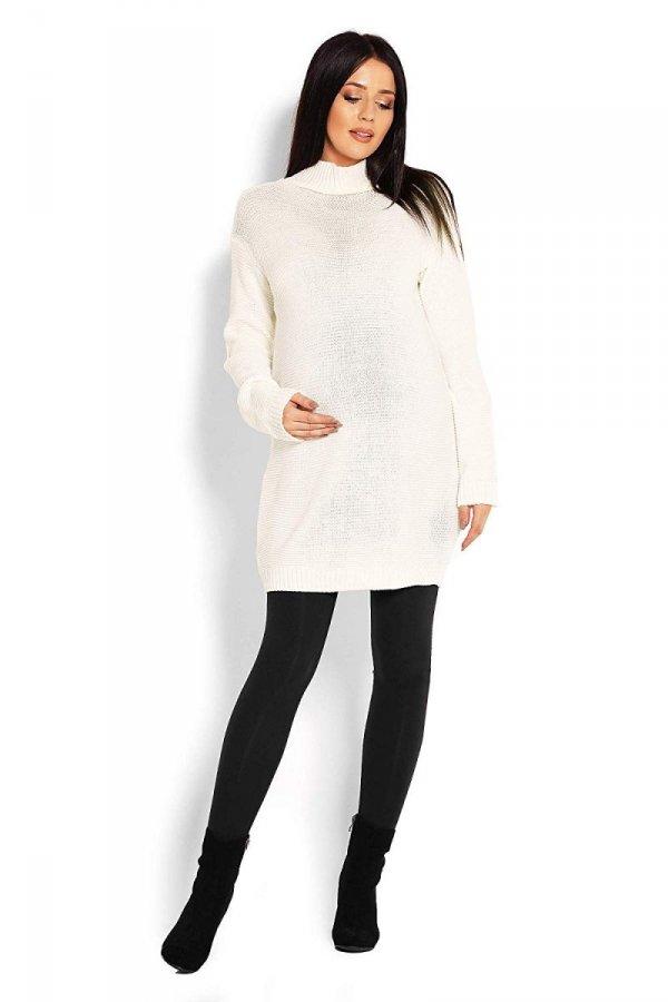 Długi sweter ciążowy Majka 2009 kremowy 2