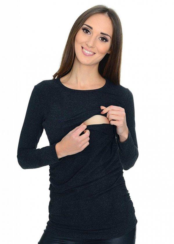 MijaCulture - bluzka 2 w 1 ciążowa i do karmienia długi rękaw M01/3070 grafit 2