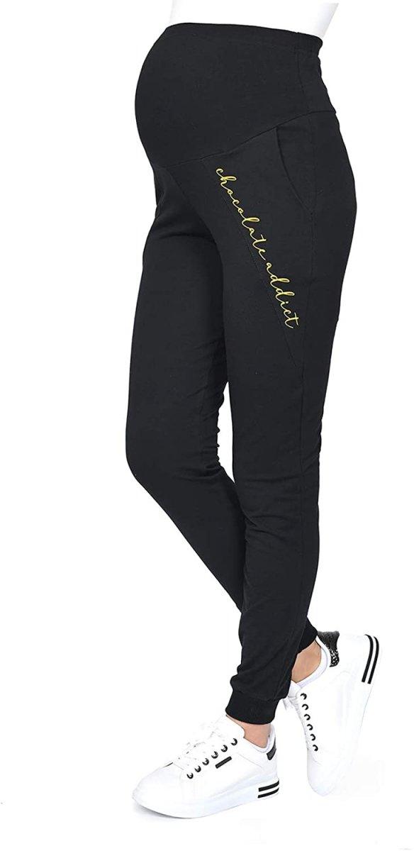 Wygodne ciążowe spodnie dresowe Chocolate Addict 9097 czarny1