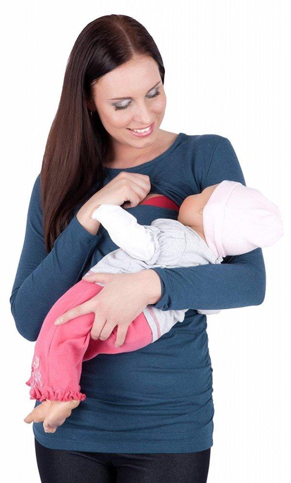 MijaCulture - bluzka 2 w 1 ciążowa i do karmienia długi rękaw M01/3070 niebieski 3