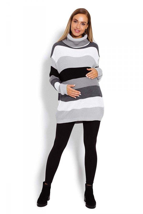 Wygodny sweter ciążowy w paski 70007/2012 szary 2