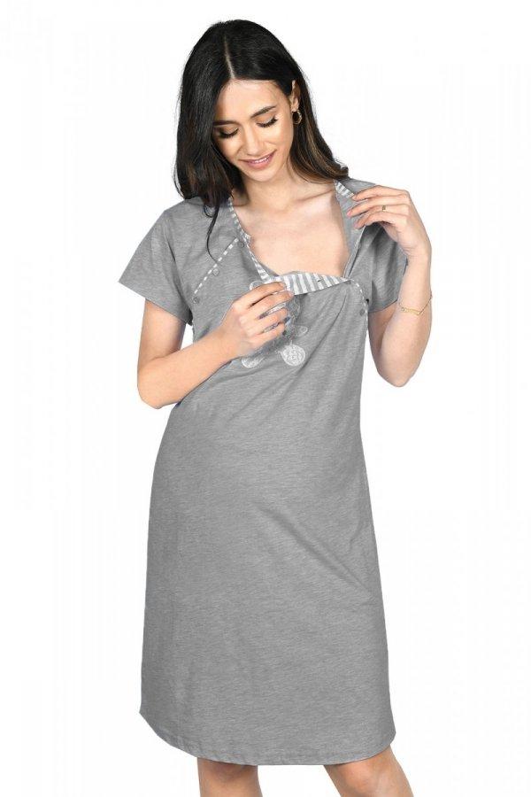 MijaCulture - 2 w 1 komplet koszula nocna i do karmienia + szlafrok 2075 grafit