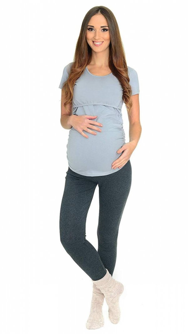 Komfortowe legginsy ciążowe zimowe 3006 grafit 3