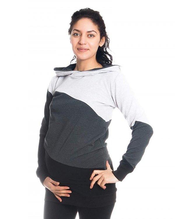 Wygodna bluza ciążowa i do karmienia 9094 czarny/melnż 3