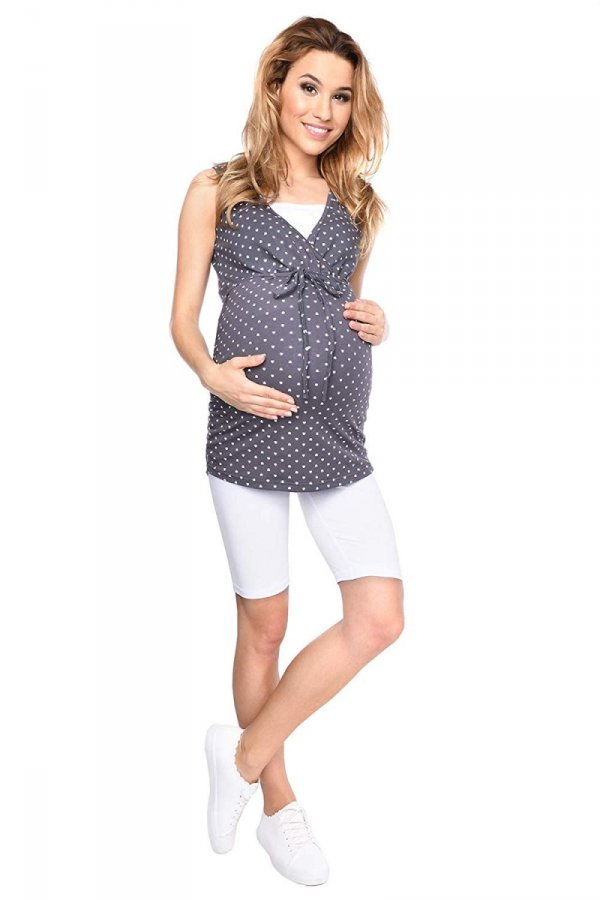 MijaCulture - bluzka 2 w 1 ciążowa i do karmienia M14/3092 grafit w serduszka 6