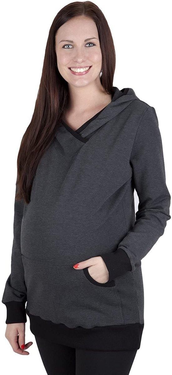 Bluza ciążowa z kapturem Vera 9049 dla kobiet w ciąży grafit