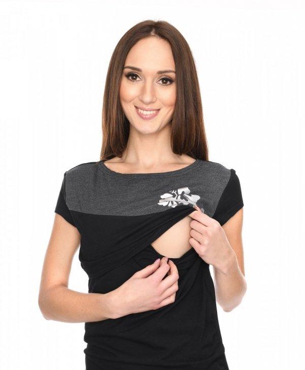 MijaCulture - urocza bluzka ciążowa i do karmienia Kwiaty 9093 czarna 2