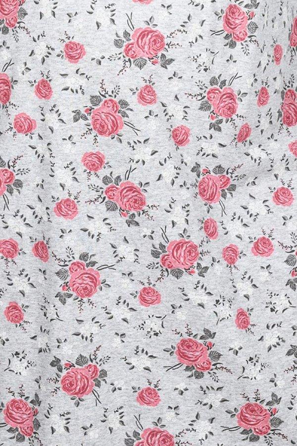 MijaCulture - 2 w 1 koszula nocna i do karmienia  2074 szary róże