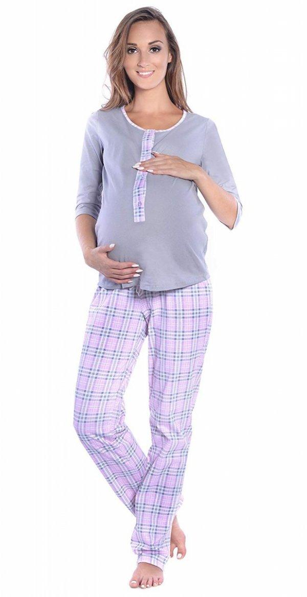 3 w 1 piżama ciążowa i do karmienia 4054/M52 szary/ jasny róż 2