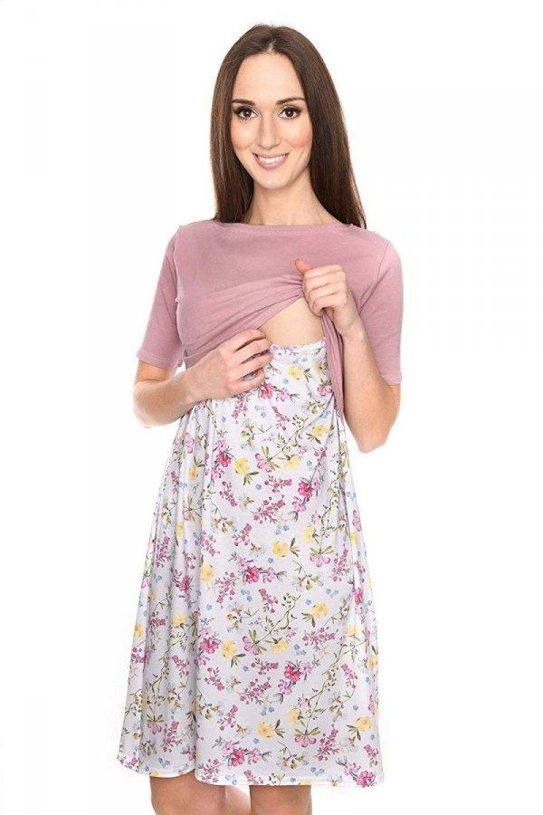 """Piękna sukienka 2 w 1 ciążowa i do karmienia """"Ali"""" róż/kwiaty 3"""
