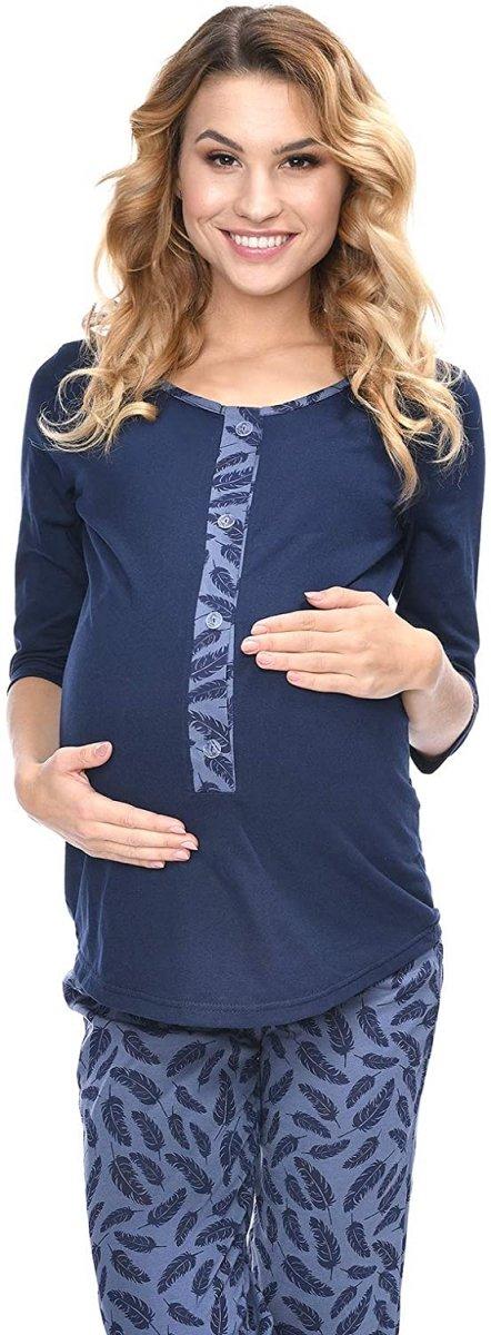 MijaCulture - 3 w 1 piżama ciążowa i do karmienia 4054/M52 granat/piórka1