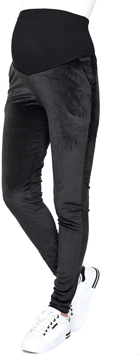 Wygodne spodnie ciązowe dresowe welurowe  9096 czarne2