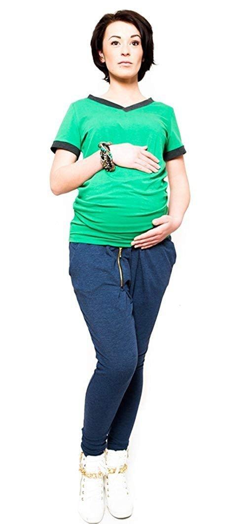 """Wygodne spodnie ciążowe dresowe na co dzień """"Tonya"""" 9052 niebieski 1"""