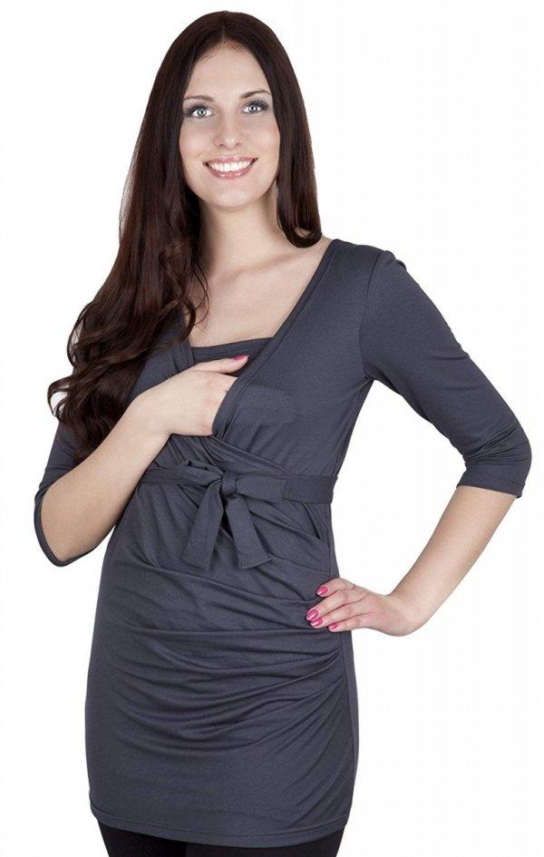 bluzka z paskiem 2 w 1 ciążowa i do karmienia 4004/M23 grafit 1