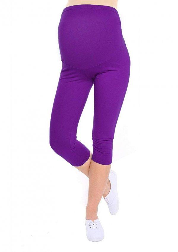 Komfortowe legginsy ciążowe 3/4 fioletowe 5