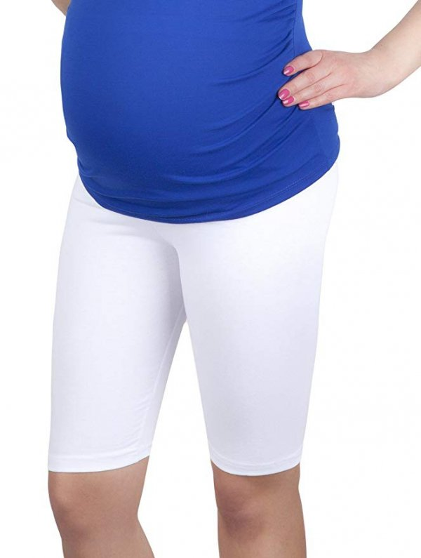 MijaCulture - wygodne krótkie legginsy ciążowe 4008/M25 biały 2