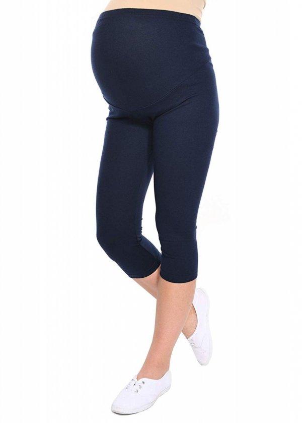 Komfortowe legginsy ciążowe 3/4 granatowe