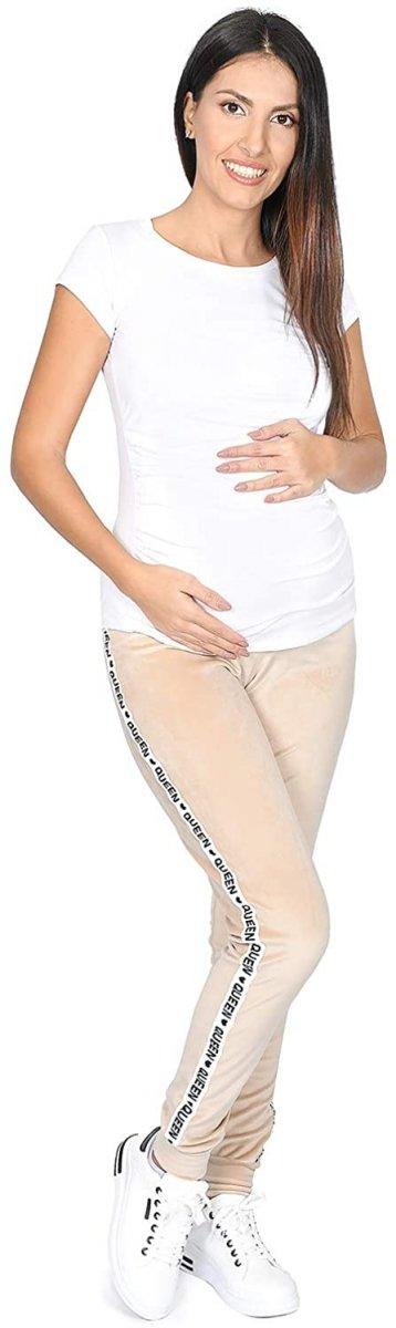 Wygodne spodnie ciązowe dresowe welurowe  9096 beż/queen4