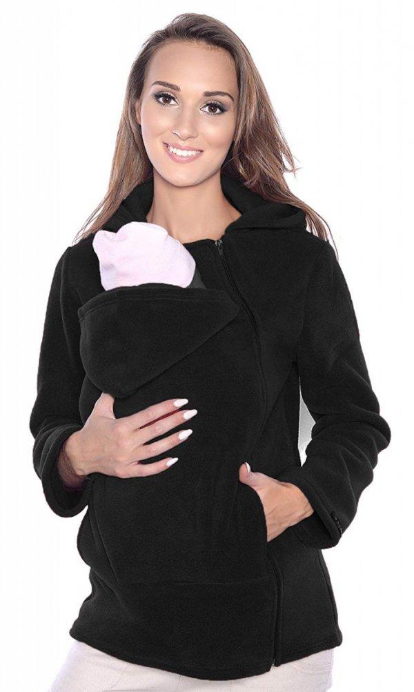 MijaCulture - bluza polarowa do noszenia dziecka 3072A czarny