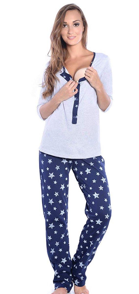 3 w 1 piżama ciążowa i do karmienia 4054/M52 szary/granat 2