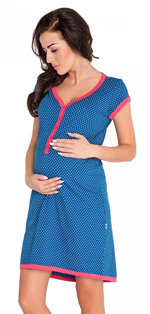 """Wygodna koszula 2 w 1 ciążowa i do karmienia krótki rękaw """"Hebe"""" 5053 niebieski 1"""