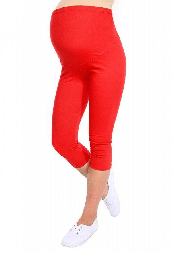 Komfortowe legginsy ciążowe 3/4 czerwone 6