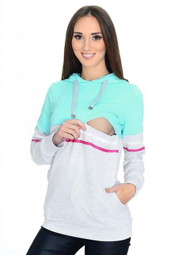 MijaCulture - 3 w 1 bluza ciążowa i do karmienia M72 4111 mięta/melanż 1