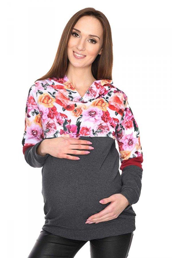 """MijaCulture - 3 w 1 bluza ciążowa i do karmienia """"Jane"""" 7144 grafit/kwiaty 2"""