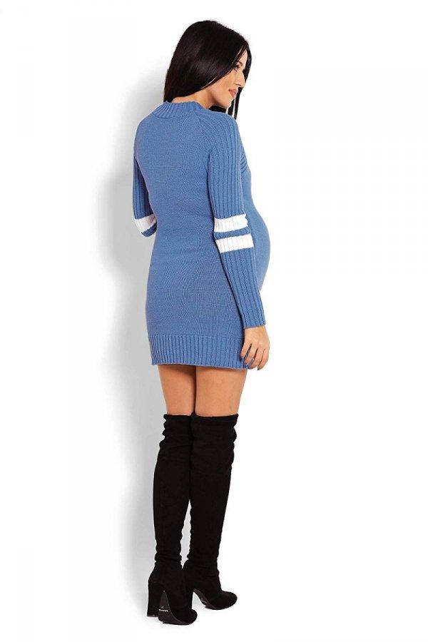 Wygodny sweter ciążowy z paskami na rękawach 70011/2010 niebieski 4