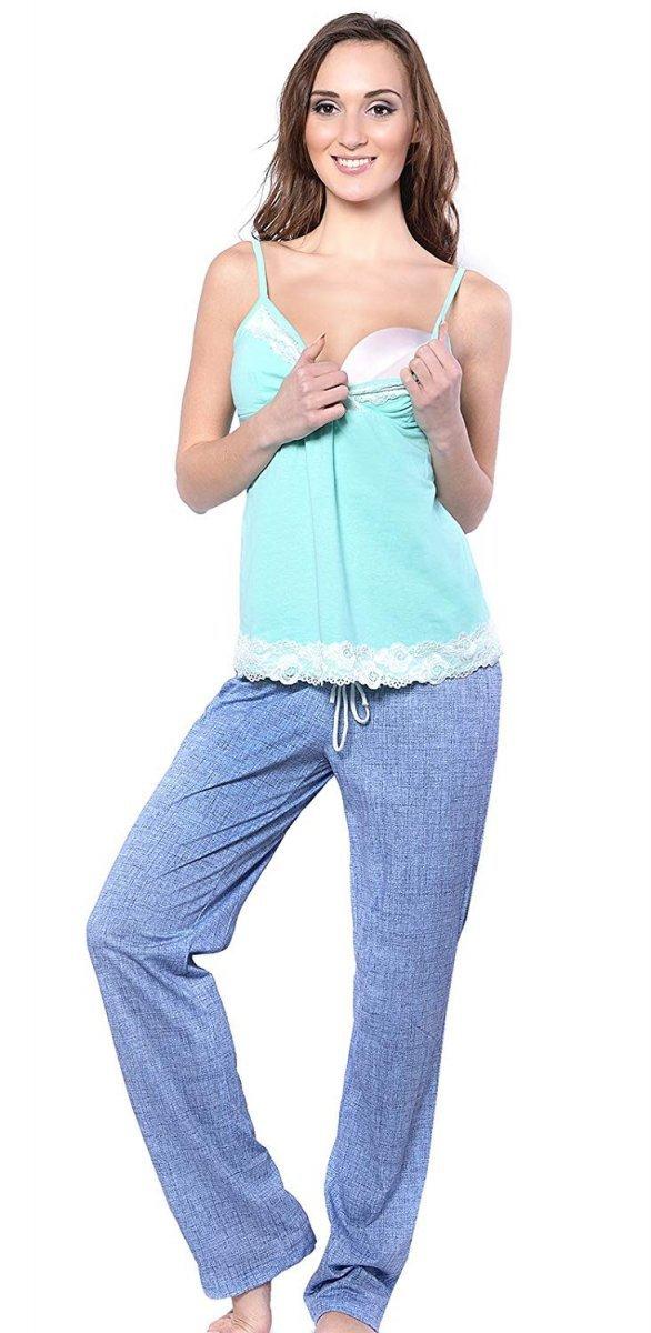 MijaCulture - 3 w 1 piżama ciążowa i do karmienia 4024/M41 turkus/niebieski 2