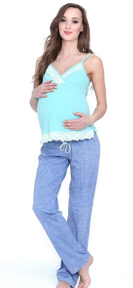 MijaCulture - 3 w 1 piżama ciążowa i do karmienia 4024/M41 turkus/niebieski 3