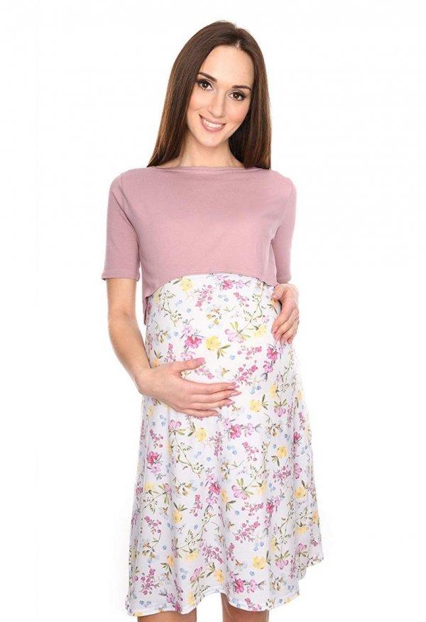 """Piękna sukienka 2 w 1 ciążowa i do karmienia """"Ali"""" róż/kwiaty 2"""
