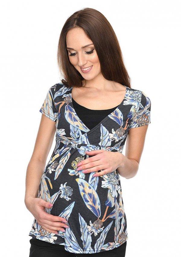 """MijaCulture - bluzka ciążowa 2 w 1 ciążowa i do karmienia krótki rękaw """" Dora"""" 7104 kwiaty 1"""