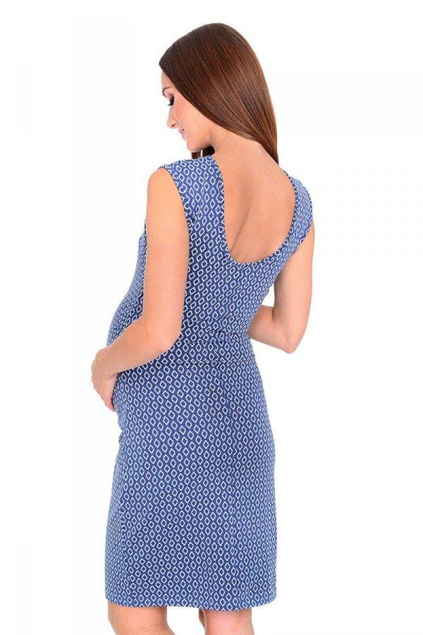 Zjawiskowa sukienka ciążowa w romby 4256/4097 niebieska 2