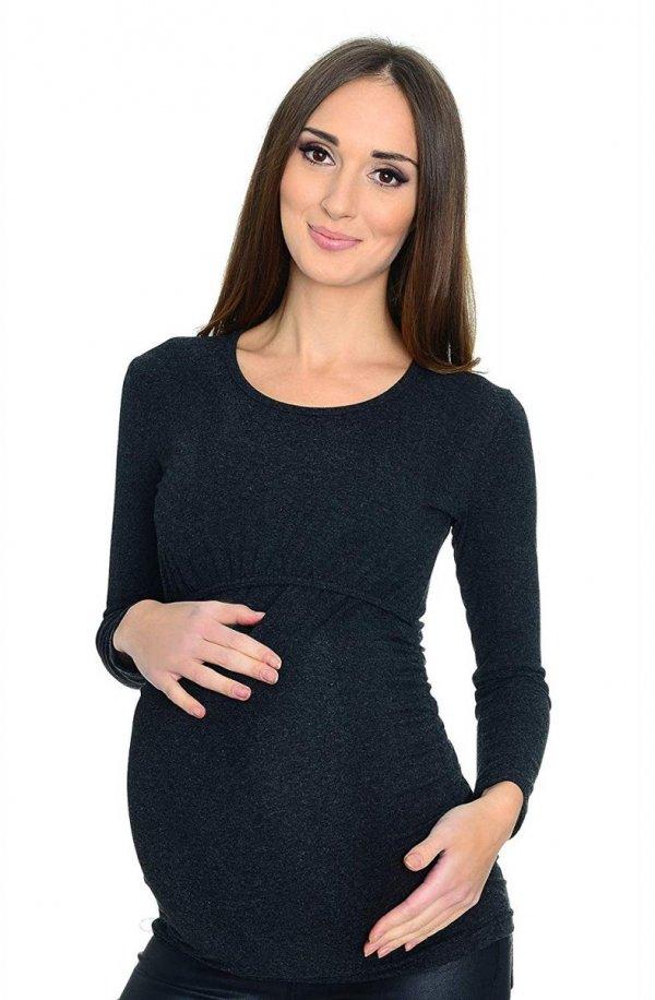 MijaCulture - bluzka 2 w 1 ciążowa i do karmienia długi rękaw M01/3070 grafit 1